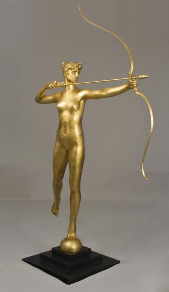 DIANA Gilded bronze on stepped wood base 100 x 56...