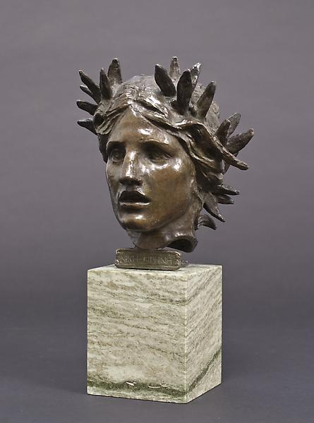 HEAD OF VICTORY, 1907 Bronze on marble base 8 x 7...