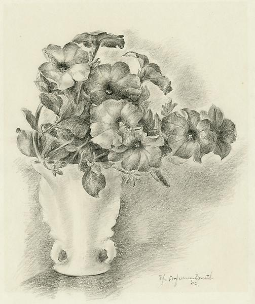 PETUNIAS IN A FRENCH VASE, 1933 Crayon and graphit...