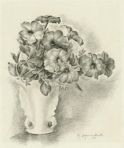 PETUNIAS IN A FRENCH VASE