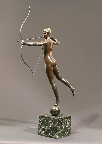 DIANA, 1895 Bronze on marble base 21 x 19 x 5 inch...