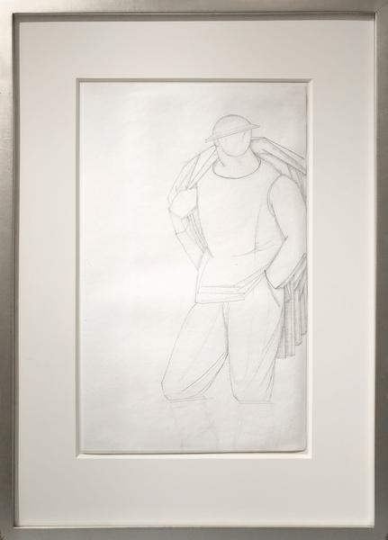 SOLDIER, c. 1918 Graphite 14 3/4 x 11 1/8 inches P...