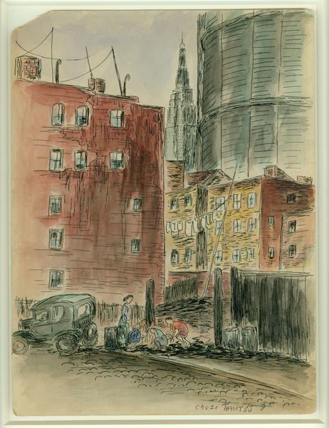 CHILDREN PLAYING, c. 1935 Ink and watercolor on bo...