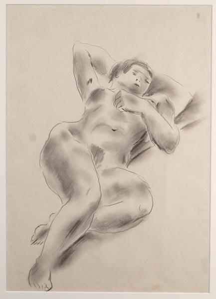 RECLINING NUDE Graphite on paper 15 x 11 inches Pr...