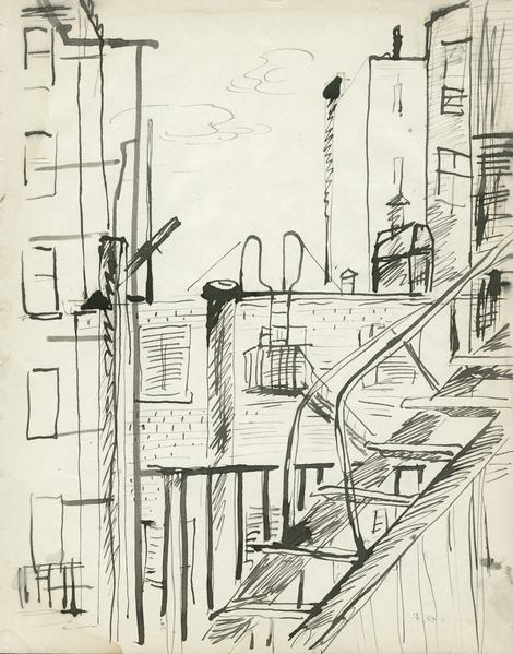 ROOFTOPS AND FIRE ESCAPE, c. 1930 Ink 10 x 8 inche...