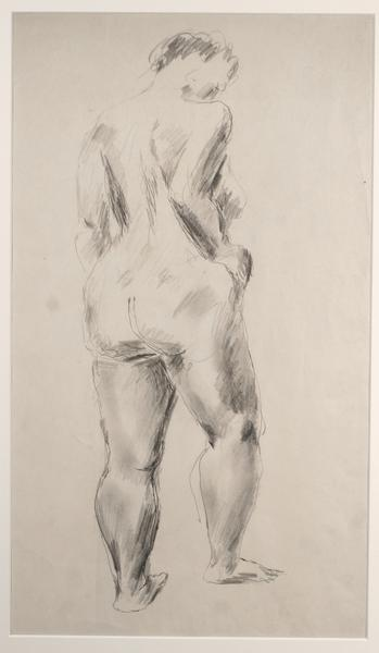 STANDING NUDE, REAR Graphite on paper 18 x 12 1/4...