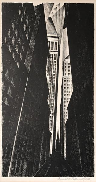 WALL STREET, 1926 Lithograph 12 1/2 x 6 3/4 inches...