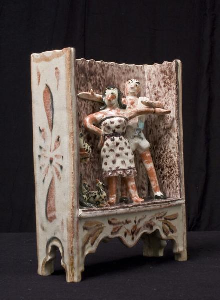 CIRCUS PERFORMERS WITH BIRDS, 1940 Ceramic 9 x 6 1...