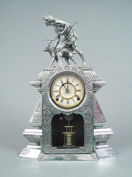 INDIAN HUNTER CLOCK, 1877 Nickel case and sculptur...