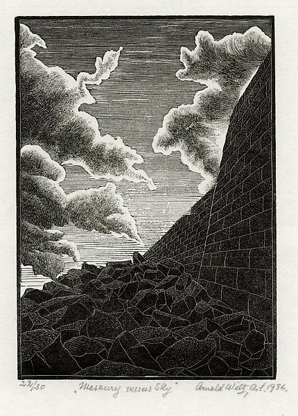 MASONRY VS. SKY (also ROCKS AND CLOUDS), 1936 Wood...