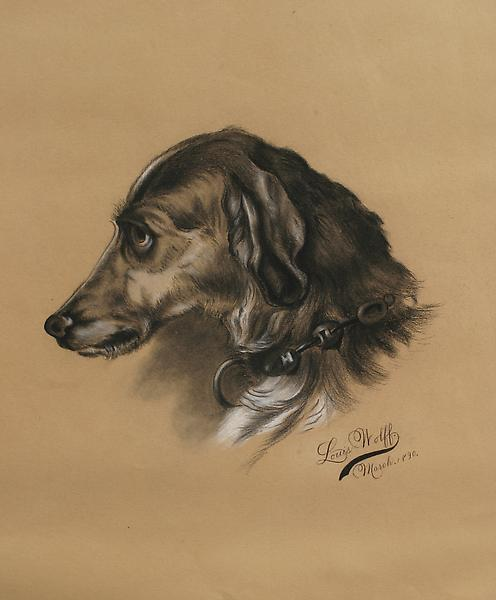 HOUND, 1890 Charcoal heightened with white 21 3/4...