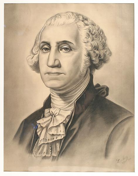 GEORGE WASHINGTON, 1890 Charcoal heightened with w...
