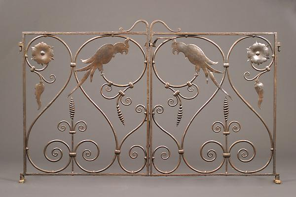 COCKATOO GATE, c. 1924 Wrought iron 38 x 60 inches...
