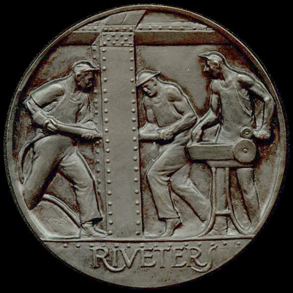 RIGGERS RIVETERS, 1944 Bronze 2 7/8 inch diameter...